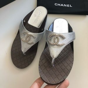 Chanel CC Logo Thong Sandals Flats Silver 36 size